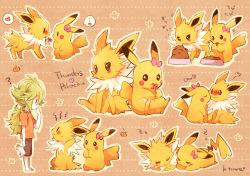 1boy blush character_name green_hair heart jolteon kiss n_(pokemon) pikachu pokemon pokemon_(game) pokemon_bw signature sleeping spoken_heart tagme torute zzz