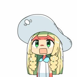 1girl blonde_hair braid chibi green_eyes hat kanikama lillie_(pokemon) long_hair lowres open_mouth pokemon pokemon_(game) pokemon_sm rectangular_mouth simple_background solo sun_hat twin_braids upper_body white_background white_hat