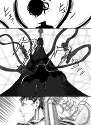 1boy 1girl berserk crossover decapitation elsa_maria_(madoka_magica) guts huge_weapon long_hair mahou_shoujo_madoka_magica monochrome nemo_(nameless920) sebastians_(madoka_magica) sword weapon witch_(madoka_magica)