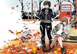 2girls alternate_costume animal autumn_leaves bench boots can cat hooded_jacket jacket kaga_(kantai_collection) kantai_collection multiple_girls open_mouth pants pole smile sweater trash_can tree uekan vending_machine yukikaze_(kantai_collection)