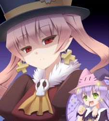 >:d 2girls :d akeyama animal_hat blood bunny_hat clenched_hands closed_mouth cross cross_earrings dolce_(rune_factory) earrings eyebrows_visible_through_hair frown fur_collar gradient gradient_background green_eyes hair_between_eyes hat head_tilt jewelry long_hair looking_at_viewer multiple_girls nosebleed open_mouth pico_(rune_factory) pink_hair pointy_ears purple_hair red_eyes rune_factory rune_factory_4 shaded_face smile sparkle sparkling_eyes top_hat tsurime twintails whiskers |_|
