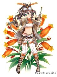 1girl ;q belt black_hair boots bow brown_boots brown_gloves crop_top cross-laced_footwear dual_wielding flower flower_knight_girl full_body gloves goggles goggles_on_head green_eyes gun hair_bow handgun jacket knee_boots kurot lace-up_boots long_hair midriff object_namesake official_art one_eye_closed orange_bow panties pistol ponytail seemannia_(flower_knight_girl) skull_and_crossbones smile solo standing tongue tongue_out underwear weapon white_background white_panties