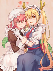 2girls :d ;( apron blonde_hair blue_dress breasts brown_eyes dragon_horns dress fang glasses glasses_removed gloves heart horns juliet_sleeves kobayashi-san_chi_no_maidragon kobayashi_(maidragon) large_breasts long_sleeves maid maid_apron maid_headdress multiple_girls necktie open_mouth orange_eyes pink_hair puffy_short_sleeves puffy_sleeves red_necktie rimless_glasses sash short_sleeves slit_pupils smile sweat tooru_(maidragon) twintails white_gloves yuri yutsumoe
