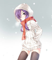 1girl aisha_(elsword) elsword hood kuro_(kuronell) purple_eyes purple_hair scarf snowing solo thighhighs
