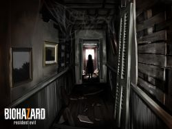 1girl broken copyright_name creepy dark door eveline hallway highres indoors kuro_kosyou landscape messy painting_(object) resident_evil resident_evil_7 silhouette silk solo spider_web standing sunlight wood wooden_floor