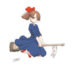 bangs black_dress bow broom broom_riding brown_eyes brown_hair cat commentary_request dress hair_bow kiki looking_at_viewer majo_no_takkyuubin minazuki_tsuyuha parted_bangs ponytail red_shoes shoes