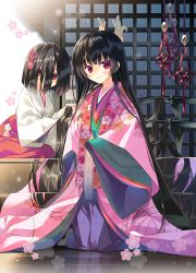 2girls absurdly_long_hair arikawa_satoru black_hair flower hair_over_face hakama hip_vent holding holding_hair horns japanese_clothes kimono kneeling layered_clothing layered_kimono long_hair looking_at_viewer miko multiple_girls original red_eyes sleeves_past_wrists smile very_long_hair wide_sleeves