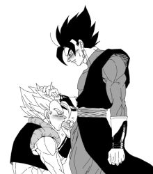 2boys bara blush dragon_ball dragonball_z erection fellatio hand_on_head male_focus multiple_boys muscle penis saliva yaoi