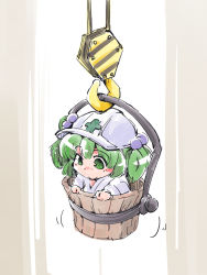 1girl bucket crane cross green_eyes green_hair hair_bobbles hair_ornament hardhat helmet in_bucket in_container kisume shinapuu short_hair sketch solo touhou twintails