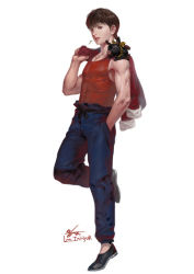 1boy artist_name brown_hair covered_navel full_body hand_in_pocket hibiki_ryouga in-hyuk_lee jacket_over_shoulder male_focus mouth_hold muscle p-chan pig ponytail ranma_1/2 realistic saotome_ranma signature standing standing_on_one_leg tank_top