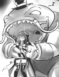1girl ashe_(league_of_legends) big_mouth bow_(weapon) cape catfish fish formal hat highres league_of_legends long_hair monochrome monster nam_(valckiry) open_mouth scared suit tahm_kench teeth top_hat weapon