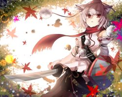 1girl animal_ears belt blizzomos chestnut_mouth detached_sleeves hat inubashiri_momiji japanese_clothes leaf long_sleeves looking_at_viewer maple_leaf open_mouth pom_pom_(clothes) red_eyes rope scarf shield shirt short_hair skirt solo string sword tokin_hat touhou weapon white_hair wide_sleeves wolf_ears