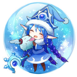 1girl :p ^_^ blue_hair braid chibi eyes_closed gloves hamamo hat horns league_of_legends licking long_hair lowres lulu_(league_of_legends) open_mouth pointy_ears poro_(league_of_legends) snow snowflakes snowing solo staff tongue tongue_out wings yordle