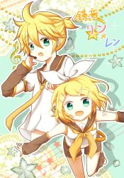 1boy 1girl arm_warmers beads blonde_hair bow brother_and_sister character_name green_eyes hair_bow hair_ornament hairclip headset kagamine_len kagamine_rin looking_at_viewer musical_note open_mouth outline school_uniform serafuku shorts siblings star translated treble_clef twins upper_body vocaloid zarathurtra