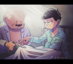 2boys bed dekapan eyes_closed highres jacket jitome labcoat looking_at_another looking_down matsuno_ichimatsu messy_hair multiple_boys open_clothes open_jacket osomatsu-kun osomatsu-san shirtless twitter_username
