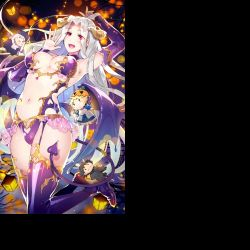 1girl :d breasts card_(medium) character_doll demon_girl demon_horns demon_tail demon_wings detached_sleeves emiya_kiritsugu fate/grand_order fate/zero fate_(series) halloween heart_cutout horns illyasviel_von_einzbern irisviel_von_einzbern long_hair low_wings navel open_mouth purple_legwear red_eyes redrop saber silver_hair smile solo succubus tail thighhighs wings