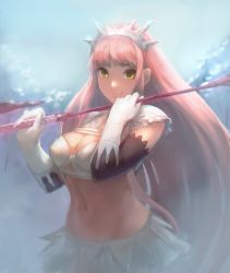 1girl bandeau bangs blunt_bangs bra breasts cleavage closed_mouth commentary_request fate/grand_order fate_(series) frills gloves groin hands_up holding layered_skirt long_hair looking_at_viewer medb_(fate/grand_order) medium_breasts midriff miniskirt navel otsukemono pink_hair riding_crop sidelocks skirt smile solo stomach tiara underwear upper_body very_long_hair white_bra white_gloves white_skirt yellow_eyes