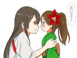 2girls akagi_(kantai_collection) amagi_(kantai_collection) arm_holding blush brown_hair delusion_empire flower frown hair_flower hair_ornament japanese_clothes kantai_collection long_hair multiple_girls smile staring translation_request younger