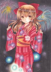 1girl acrylic_paint_(medium) bow brown_eyes brown_hair fireworks floral_print hair_bow hair_tubes hakurei_reimu highres japanese_clothes kimono light_smile long_sleeves looking_at_viewer marker_(medium) night night_sky obi pom77 sash sky solo standing touhou traditional_media wide_sleeves yukata