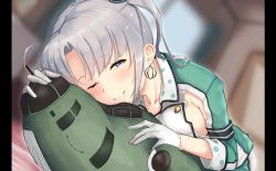 1girl akitsushima_(kantai_collection) blurry blush breasts chizurusou_(tiduru_39) dakimakura_(object) depth_of_field dutch_angle earrings gloves hair_in_mouth highres jewelry kantai_collection large_breasts looking_at_viewer nishikitaitei-chan one_eye_closed pillarboxed pillow purple_eyes side_ponytail sideboob silver_hair solo