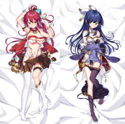 2girls absurdres antenna_hair arm_belt arm_up armpits asymmetrical_legwear bangs beads bed_sheet belt black_legwear black_panties black_skirt blue_hair blush bow bracelet breasts brooch brown_skirt cleavage coin_(ornament) covering covering_breasts covering_crotch crystal dakimakura detached_collar embarrassed eyebrows_visible_through_hair frilled_sleeves frills full_body garter_straps gears glass gloves gluteal_fold green_eyes groin hair_bow hair_ornament half_updo hand_up hands_in_sleeves highres isekai_karano_nono jacket jewelry kikimi kneehighs large_breasts long_hair long_sleeves looking_at_viewer loose_thighhigh lying medium_breasts miniskirt multiple_girls navel no_shoes nono_(isekai_karano_nono) off_shoulder on_back open_clothes open_skirt open_vest panties panty_pull parted_lips pleated_skirt red_hair red_vest ruri_(isekai_karano_nono) shiny shiny_hair sidelocks single_kneehigh single_thighhigh skirt skirt_removed sleeveless sleeves_past_wrists sphere stomach thigh_strap thighhighs underboob underwear very_long_hair vest weapon white_bow white_gloves white_legwear wide_sleeves yellow_eyes