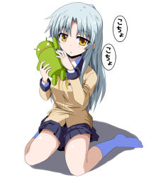 1girl android_(mascot) android_(os) angel_beats! blazer blush long_hair m_(milk0824) school_uniform silver_hair sitting tenshi_(angel_beats!) wariza yellow_eyes