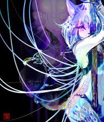 1girl blue_hair furry gem hair_ornament japanese_text jewelry krystal markings nintendo staff star_fox tail text