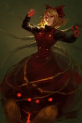 1girl backlighting blonde_hair bow brown_dress dress glowing glowing_hand hair_bow inishie_kumo insect_girl kurodani_yamame long_sleeves looking_at_viewer red_eyes short_hair solo spider_girl touhou
