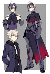 1boy armor black_gloves blonde_hair boots character_sheet elbow_gloves fate/grand_order fate_(series) fur_trim gauntlets genderswap genderswap_(ftm) gloves headpiece highres jeanne_alter jewelry male_focus necklace open_clothes open_shirt ruler_(fate/apocrypha) shirt sword syubare weapon yellow_eyes