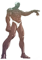 1boy abs barefoot bingoman blue_eyes bulge dark_skin forehead_jewel full_body grey_skin highres muscle outstretched_hand shirtless solo standing street_fighter street_fighter_iii swim_briefs urien white_hair