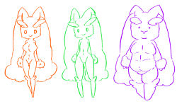 3girls animal_ears artist_request breasts bunny_ears furry large_breasts legs_apart looking_at_viewer lopunny monochrome multiple_girls navel no_humans no_nipples plump pokemon pokemon_(creature) pokemon_dppt simple_background sketch smile standing white_background