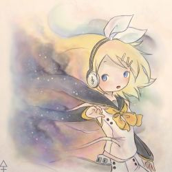 1girl blonde_hair blue_eyes earphones hair_bow hairclip kagamine_rin kanra-san open_mouth ribbon solo vocaloid