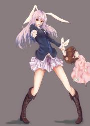 2girls aiming_at_viewer animal_ears blazer boots brown_eyes brown_hair bunny_ears cross-laced_footwear dress ear_grab finger_gun head_bump highres homo_1121 inaba_tewi knee_boots long_hair long_sleeves multiple_girls open_mouth pink_dress purple_hair red_eyes reisen_udongein_inaba shirt simple_background skirt smile touhou very_long_hair