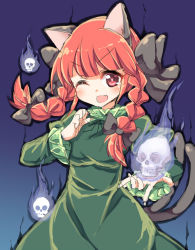 1girl ;d animal_ears bow braid cat_ears cat_tail dress fang hair_bow kaenbyou_rin long_hair looking_at_viewer multiple_tails one_eye_closed open_mouth red_eyes red_hair sketch skull smile solo tail touhou twin_braids yukari_yukke