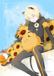 1boy :3 absurdres animal_ears arm_support blonde_hair character_name denim drooling dutch_angle fake_animal_ears fake_tail flower fungus_(vocaloid) genderswap highres jeans male_focus megaphone pants seeu sitting sleeping sunflower tail vocaloid zeeu