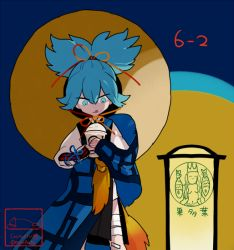 1boy artist_name bandage blue_eyes blue_hair hat l_hakase licking_lips male_focus sayo_samonji solo starbucks tongue tongue_out touken_ranbu twitter_username