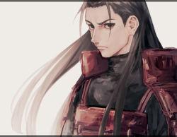 1boy armor black_eyes brown_hair face long_hair looking_at_viewer male naruto ninja senju_hashirama serious simple_background solo subuta_(butabutasubuta) turtleneck