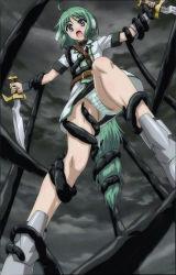 1girl dagger dog_days eclair_martinozzi green_hair panties pleated_skirt screencap short_hair striped_panties tentacle underwear violet_eyes