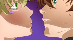 2boys blonde_hair brown_hair derivative_work facial_mark green_eyes jojo_no_kimyou_na_bouken joseph_joestar_(young) multiple_boys parody sweatdrop yudzuki_ren yume_nikki