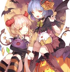 >_< 2girls :3 :d alternate_costume alternate_hairstyle arm_warmers baddie_(p&d) bare_shoulders bat bat_wings bell bell_collar blonde_hair blue_eyes blue_hair boots capelet choker collar creature cross-laced_footwear crossover demon_horns demon_tail dress fang flandre_scarlet hair_ornament halloween hillly_(maiwetea) horns jack-o'-lantern jingle_bell kneehighs lace-up_boots lavender_hair long_hair looking_at_viewer multicolored_eyes multiple_girls open_mouth pumpkin puzzle_&_dragons red_eyes remilia_scarlet short_hair siblings single_sleeve sisters sitting sleeveless sleeveless_dress smile star striped striped_legwear tail tamadra thighhighs touhou wings wrist_cuffs yellow_eyes