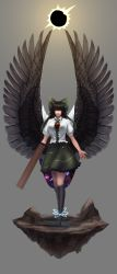 1girl absurdres arm_cannon backlighting black_hair black_legwear black_wings bow breasts floating_rock galaxy green_skirt grey_background hair_bow highres kneehighs large_breasts large_wings lips looking_at_viewer minamike1991 nose open_hand outstretched_arms red_eyes reiuji_utsuho shoes short_sleeves simple_background skirt solar_eclipse solo space standing third_eye touhou weapon wings