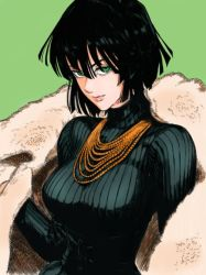 1girl bangs black_hair blunt_bangs breasts coat colored eyelashes fubuki_(one-punch_man) green_background green_eyes half-closed_eyes jacket large_breasts light_smile lips long_sleeves looking_at_viewer murata_yuusuke necklace one-punch_man pink_lips short_hair simple_background sweater turtleneck turtleneck_sweater upper_body