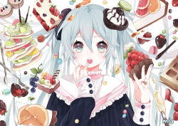 1girl aqua_eyes aqua_hair aqua_nails artist_name bust cake candy chocolate face food fruit hatsune_miku long_hair looking_at_viewer m&m's mia0309 nail_polish open_mouth solo strawberry twintails vocaloid white_background