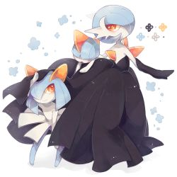 alternate_color back blue_hair dress gardevoir hair_over_eyes hair_over_one_eye kirlia mega_gardevoir mega_pokemon nintendo no_humans orange_eyes pokemon pokemon_(game) pokemon_xy ralts shiny_pokemon short_hair smile