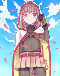 1girl bodystocking boots braid capelet cloud gloves magia_record:_mahou_shoujo_madoka_magica_gaiden magical_girl mahou_shoujo_madoka_magica miniskirt navel pink_hair skirt sky smile soul_gem tamaki_iroha