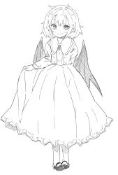 1girl bat_wings blush commentary_request dress fang_out frilled_skirt frills full_body greyscale highres line_shading long_sleeves looking_at_viewer mary_janes monochrome pointy_ears remilia_scarlet shoes short_hair sketch skirt smile solo touhou waira wings