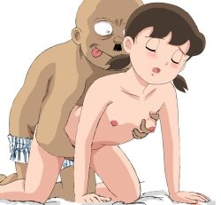 1boy 1girl :p age_difference all_fours bald bangs bed_sheet black_hair blush boxers breast_grab breasts brown_hair constricted_pupils dark_skin dark_skinned_male doggystyle doraemon eyes_closed faceless_male facial_hair flat_chest flat_chest_grab grabbing grabbing_from_behind hetero indoors interracial kneeling leaning_forward loli minamoto_shizuka moaning mustache nipples nude open_mouth reach-around sex short_hair short_twintails simple_background striped tongue tongue_out tsukiyo_no_ribbon twintails underwear vertical_stripes white_background