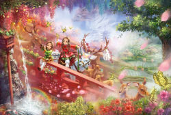 2girls architecture bell bridge brown_eyes brown_hair butterfly chinese_clothes deer dragon east_asian_architecture fish flower flute frog house instrument jingle_bell long_hair low_twintails miyai_haruki multiple_girls original pagoda petals plant playing_instrument rainbow reindeer riding scenery sheath sheathed shide shirt shoes sitting skirt sword tree twintails water weapon