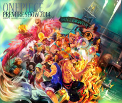 amazon blonde_hair blue_hair boa_hancock brook brothers charloss cyborg daisy_(one_piece) devil_fruit disco donquixote_doflamingo duval fire franky fruit green_hair marguerite mecha monkey_d_luffy multiple_boys multiple_girls nami nico_robin nodachi one_piece orange_hair pole portgas_d_ace ran_(one_piece) reindeer sanji shalulia skeleton smile sunglasses sword t-shirt tongue tony_tony_chopper topless trafalgar_law tsuyomaru usopp water weapon