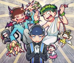 6+boys angel angel_wings chains collar demon_tail demon_wings fangs gloves halo hands_together horns long_nails long_tongue male_focus matsuno_choromatsu matsuno_ichimatsu matsuno_juushimatsu matsuno_karamatsu matsuno_osomatsu matsuno_todomatsu money multiple_boys nail_polish nun one-shoulder_tunic open_mouth osomatsu-san red_nails santou_suihei sextuplets short_hair tail tears tongue white_gloves wings wreath